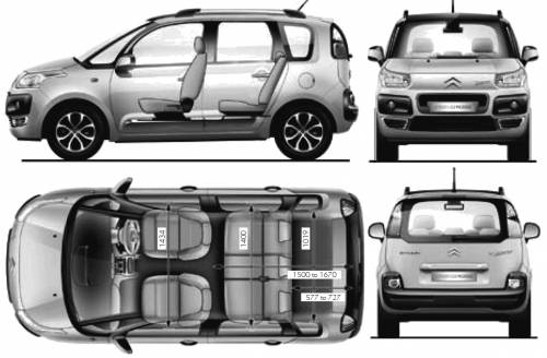 the blueprints cars citroen citroen c3 picasso 2010. Black Bedroom Furniture Sets. Home Design Ideas