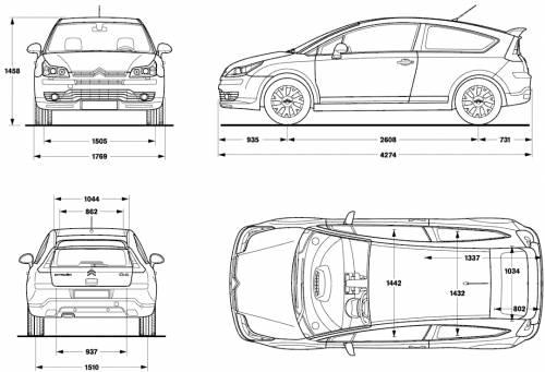 blueprints cars citroen citroen c4 coupe. Black Bedroom Furniture Sets. Home Design Ideas