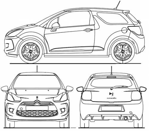 the blueprints cars citroen citroen ds3 2010. Black Bedroom Furniture Sets. Home Design Ideas