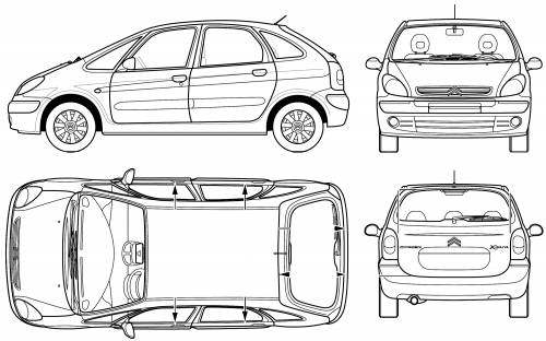 the blueprints voitures citroen citroen xsara picasso 2005. Black Bedroom Furniture Sets. Home Design Ideas
