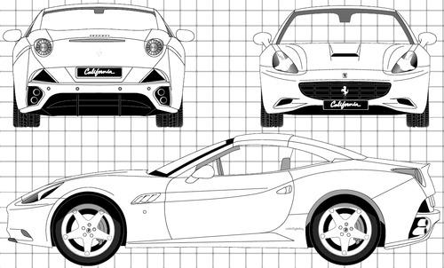Blueprints Cars Ferrari Ferrari California 2009