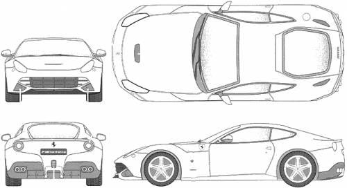 Blueprints Cars Ferrari Ferrari F12berlinetta 2013