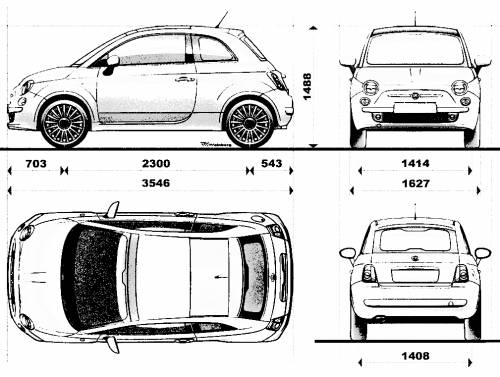 the blueprints cars fiat fiat 500 2007. Black Bedroom Furniture Sets. Home Design Ideas