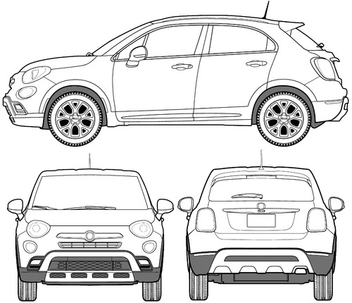 the blueprints cars fiat fiat 500x trekking 2016. Black Bedroom Furniture Sets. Home Design Ideas