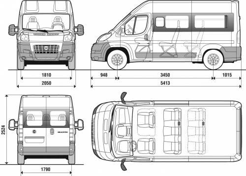 The blueprints voitures fiat fiat ducato combi high roof 2007 - Layouts hoogte ...