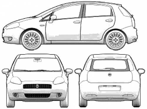 Blueprints Cars Fiat Fiat Grande Punto 5 Door 2005