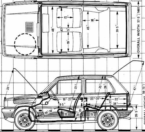 the blueprints cars fiat fiat panda 45 1981. Black Bedroom Furniture Sets. Home Design Ideas