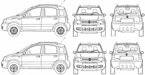 blueprints cars fiat fiat panda 4x4 2005. Black Bedroom Furniture Sets. Home Design Ideas