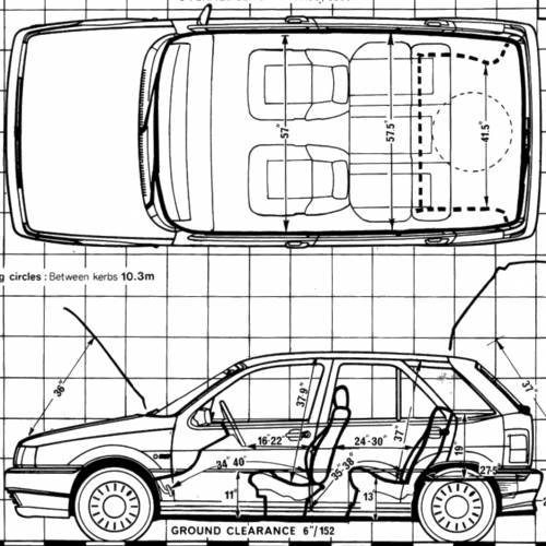 blueprints cars fiat fiat tipo 1 4 1988. Black Bedroom Furniture Sets. Home Design Ideas