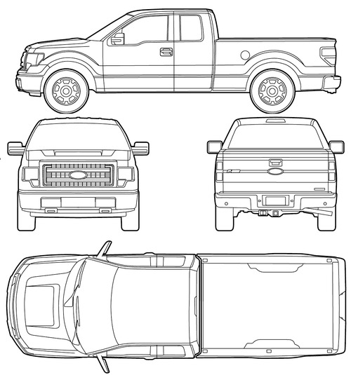 the blueprints cars ford ford f 150 crew cab 2015. Black Bedroom Furniture Sets. Home Design Ideas