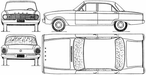 pixel car art  u0026gt  ford falcon blueprint  picture