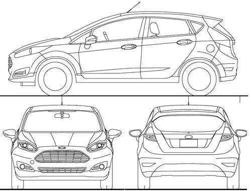 Blueprints Cars Ford Ford Fiesta 5 Door 2015