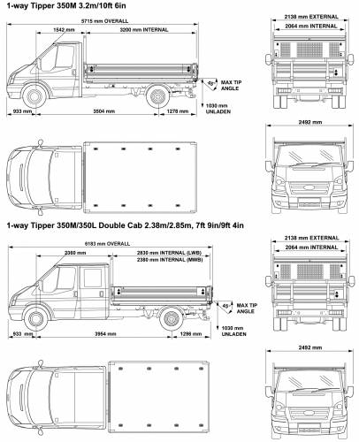 blueprints cars ford ford transit 1 way tipper 2008. Black Bedroom Furniture Sets. Home Design Ideas