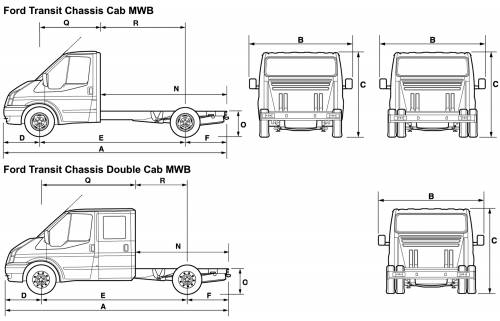 the blueprints cars ford ford transit chassic cab mwb 2008. Black Bedroom Furniture Sets. Home Design Ideas