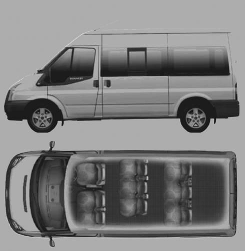 10 Ford Transit 15str Minibus: Blueprints > Cars > Ford > Ford