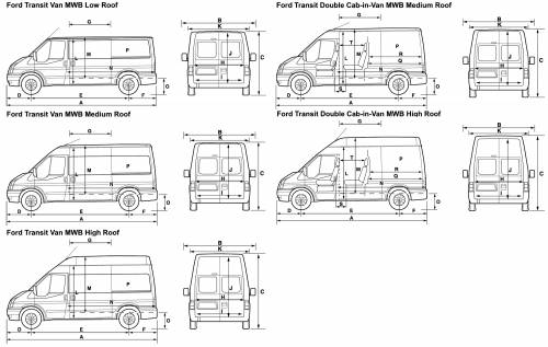 the blueprints cars ford ford transit van mwb 2008. Black Bedroom Furniture Sets. Home Design Ideas