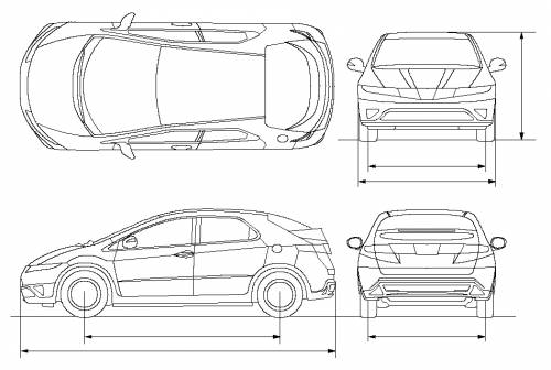 Blueprints cars honda honda civic 5 door for Honda civic hatchback dimensions