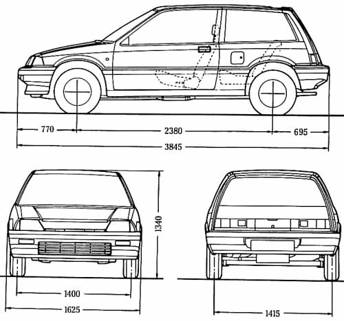 llanody  honda civic hatchback 1987