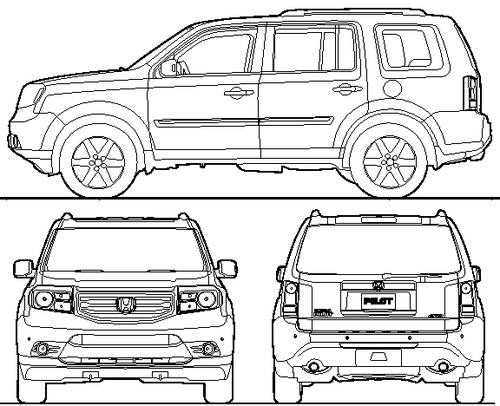 Blueprints cars honda honda pilot 2014 for 2014 honda pilot dimensions