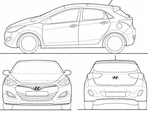 the blueprints cars hyundai hyundai i30 2013. Black Bedroom Furniture Sets. Home Design Ideas