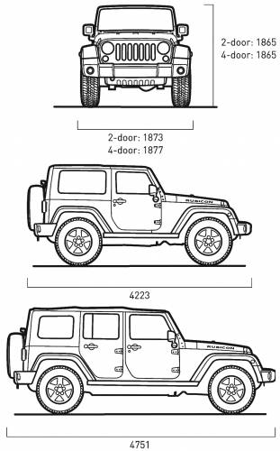 dimensions jeep wrangler unlimited
