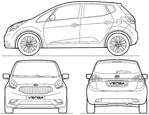 Blueprints Cars Kia Kia Venga 2010