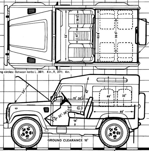 the blueprints cars land rover land rover 90 country v8 swb 1989. Black Bedroom Furniture Sets. Home Design Ideas