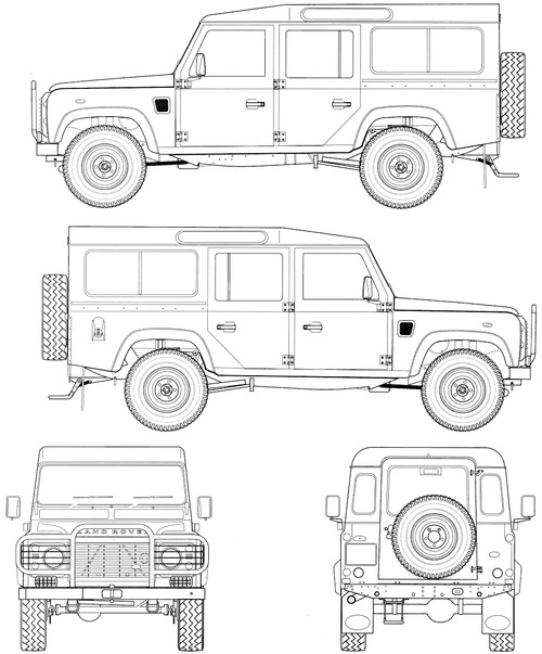 Blueprints cars land rover land rover defender 110 - Dessin 4x4 humoristique ...