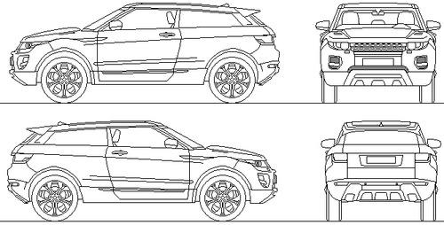 blueprints cars land rover range rover evoque. Black Bedroom Furniture Sets. Home Design Ideas
