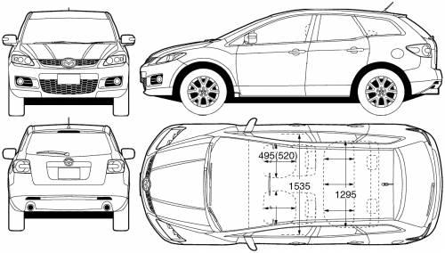 the blueprints cars mazda mazda cx7 2007. Black Bedroom Furniture Sets. Home Design Ideas