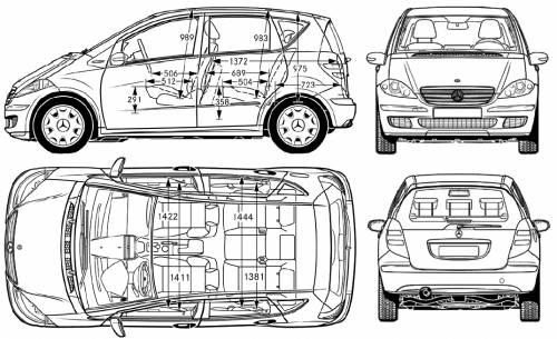 the blueprints cars mercedes benz mercedes benz a class 2006. Black Bedroom Furniture Sets. Home Design Ideas