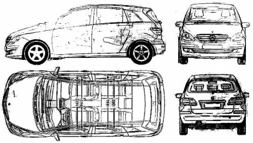 the blueprints cars mercedes benz mercedes benz b class 2005. Black Bedroom Furniture Sets. Home Design Ideas