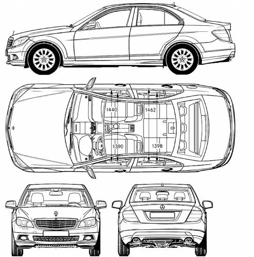 the blueprints cars mercedes benz mercedes benz c class 2007. Black Bedroom Furniture Sets. Home Design Ideas