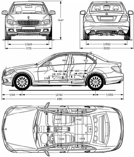 The blueprints cars mercedes benz mercedes benz c class 2007 - S class coupe dimensions ...