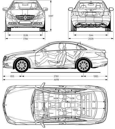 The blueprints cars mercedes benz for Mercedes benz e class dimensions