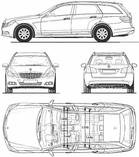 the blueprints cars mercedes benz mercedes benz e class t 2010. Black Bedroom Furniture Sets. Home Design Ideas