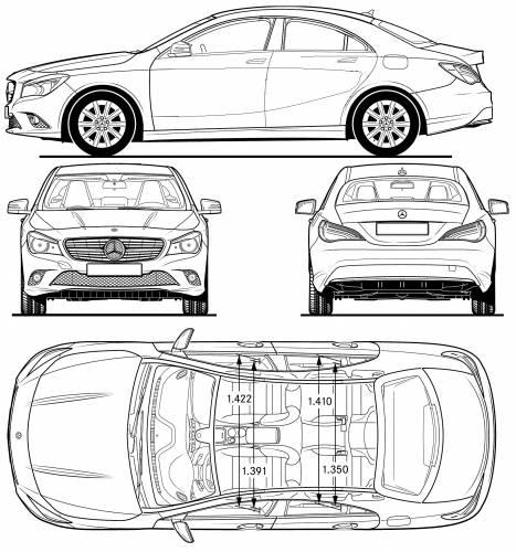 the blueprints cars mercedes benz merceds benz cla class 2013. Black Bedroom Furniture Sets. Home Design Ideas