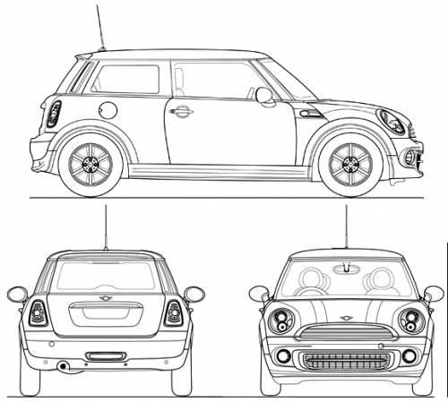 the blueprints cars mini mini cooper 2011. Black Bedroom Furniture Sets. Home Design Ideas