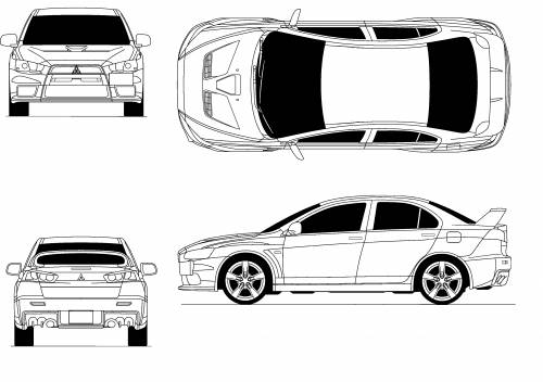 Blueprints cars mitsubishi mitsubishi lancer evolution x for Medidas de un carro arquitectura