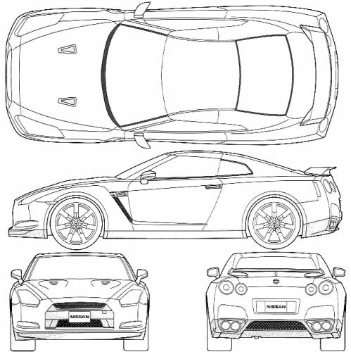nissan gtr r35 colouring pages