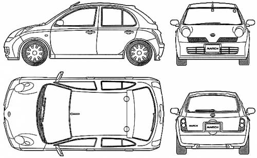 Nissan Micra Dimensions http://www.the-blueprints.com/blueprints/cars/nissan/6227/view/nissan_march_5-door_(micra)/