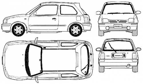 the blueprints cars nissan nissan micra 3 door 2000. Black Bedroom Furniture Sets. Home Design Ideas