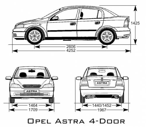 the blueprints cars opel opel astra 4 door. Black Bedroom Furniture Sets. Home Design Ideas