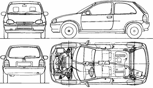 the blueprints cars opel opel corsa b 3 door 1994. Black Bedroom Furniture Sets. Home Design Ideas
