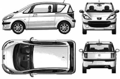 Чертёж (схема) авто Peugeot авто 1007.