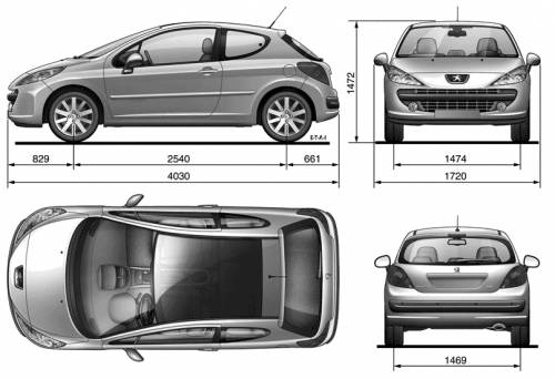 the blueprints cars peugeot peugeot 207. Black Bedroom Furniture Sets. Home Design Ideas