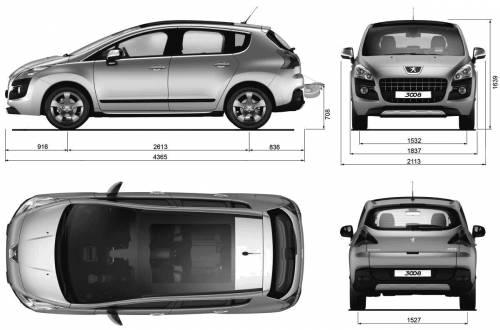 blueprints cars peugeot peugeot 3008 mpv 2009. Black Bedroom Furniture Sets. Home Design Ideas