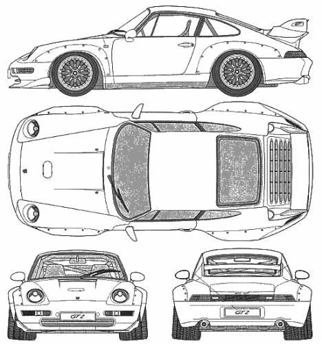 the blueprints cars porsche porsche 911 gt2. Black Bedroom Furniture Sets. Home Design Ideas