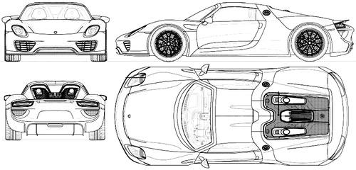Blueprints Cars Porsche Porsche 918 Spyder 2016