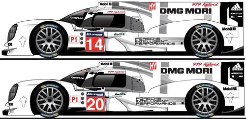 Blueprints Cars Porsche Porsche 919 Hybrid Le Mans 2014